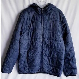 Burnside Puffer Blue Jacket Hooded Size Large